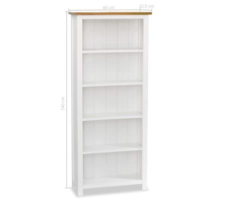 "vidaXL 5-Tier Bookcase 23.6""x8.9""x55.1"" Solid Oak Wood[5/5]"