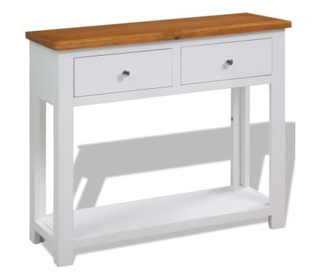 vidaXL Konzolový stolík 83x30x73 cm, dubový masív