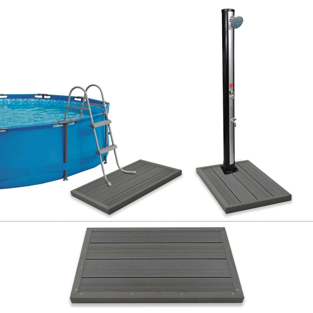 Podlahový prvek pro solární sprchu a bazénové schůdky WPC