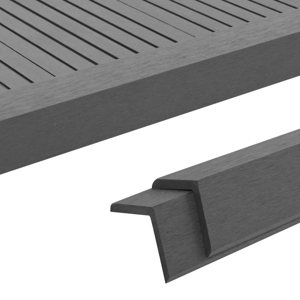 vidaXL Terasové rohové lišty z dřevoplastu 5 ks 170 cm šedé
