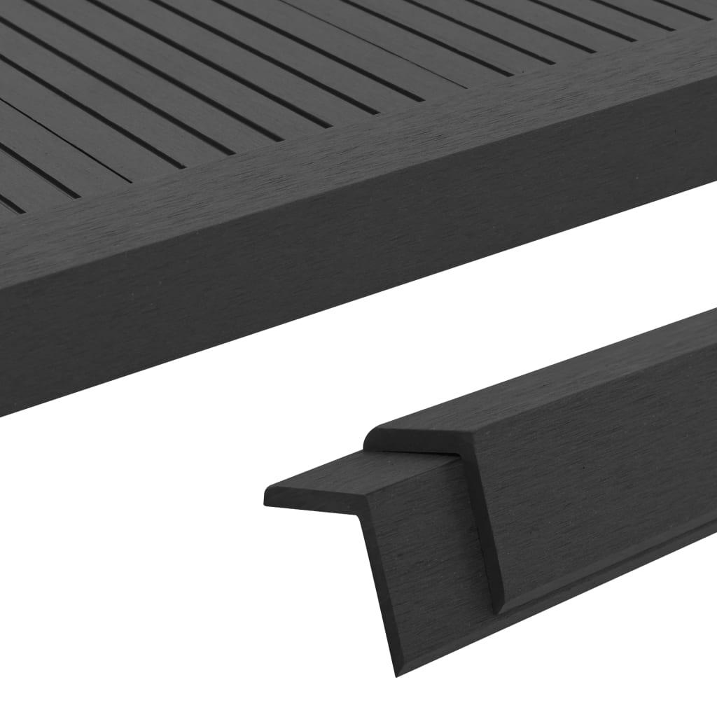 vidaXL Terasové rohové lišty z dřevoplastu 5 ks 170 cm černé