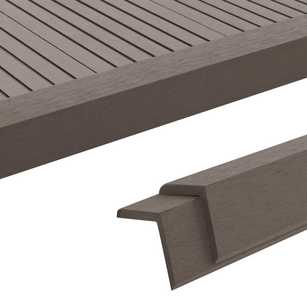 vidaXL Terasové rohové lišty z dřevoplastu 5 ks 170 cm tmavě hnědé