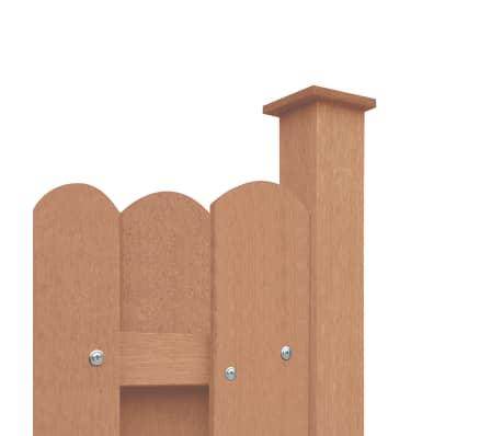 vidaXL Panou de gard cu 2 stâlpi, maro, 180 x 180 cm, WPC[3/16]