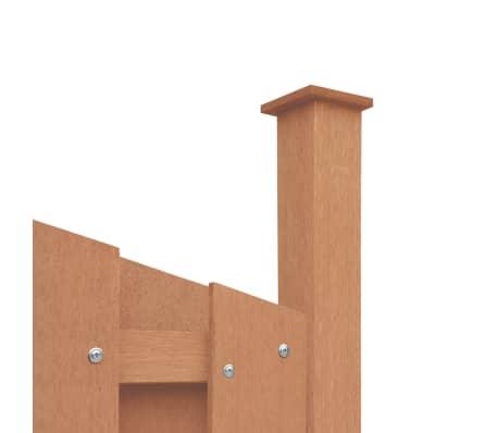 vidaXL Panou de gard cu 2 stâlpi, maro, 180x(165-180) cm, WPC[3/16]