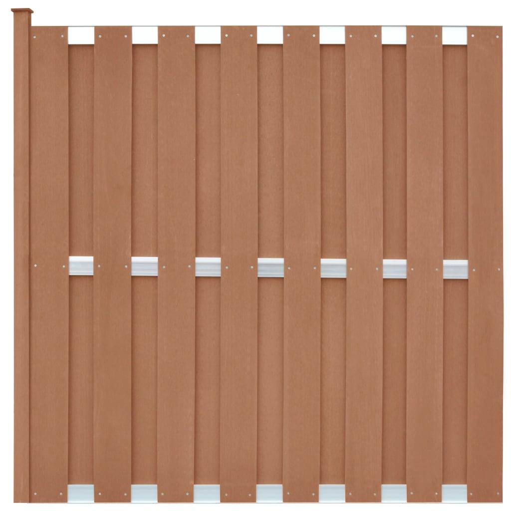 vidaXL Panou de gard cu 1 stâlp, maro, 180 x 180 cm, WPC vidaxl.ro