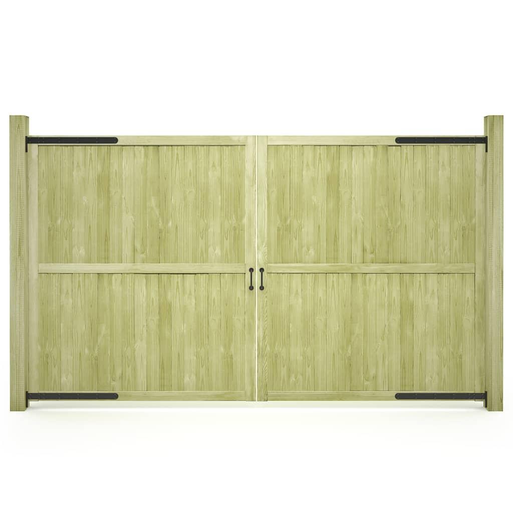 vidaXL Porți de grădină, 2 buc., 300 x 175 cm, lemn de pin tratat poza vidaxl.ro