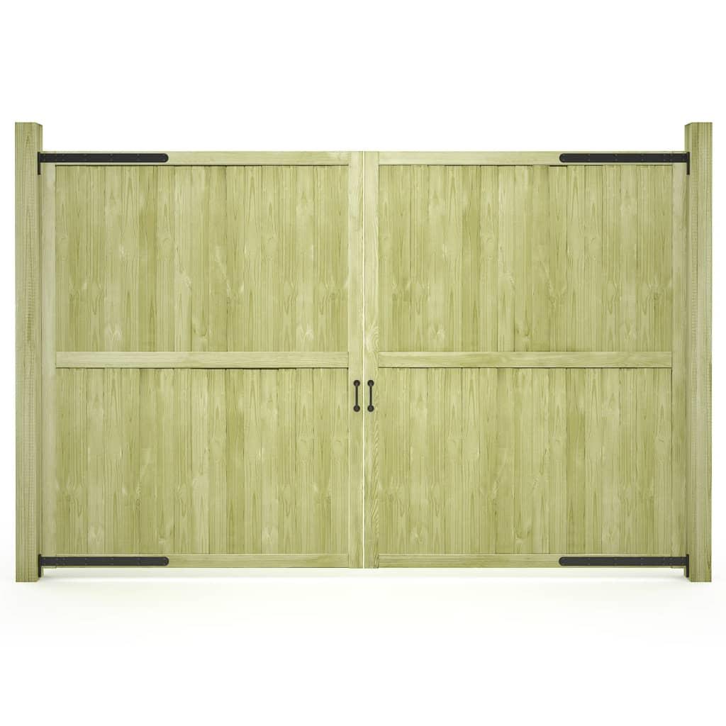vidaXL Porți de grădină, 2 buc., 300 x 195 cm, lemn de pin tratat imagine vidaxl.ro