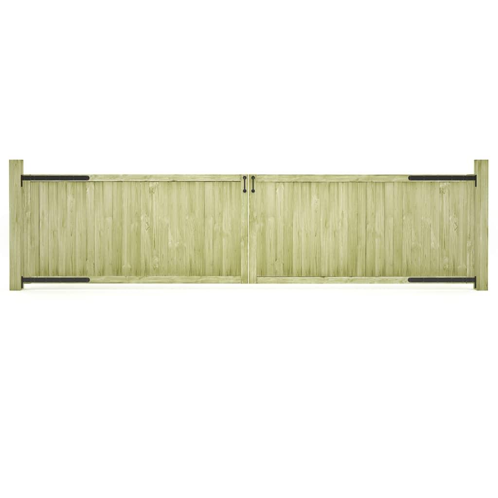vidaXL Porți de grădină, 2 buc., 400 x 100 cm, lemn de pin tratat poza 2021 vidaXL