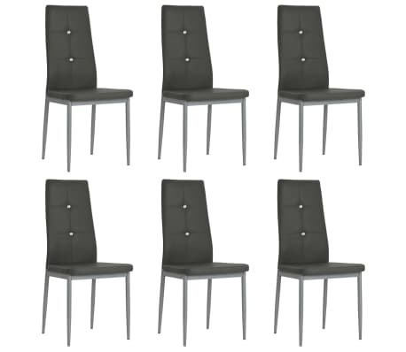 vidaxl esszimmerst hle 6 stk kunstleder 43 x 43 5 x 96 cm grau g nstig kaufen. Black Bedroom Furniture Sets. Home Design Ideas