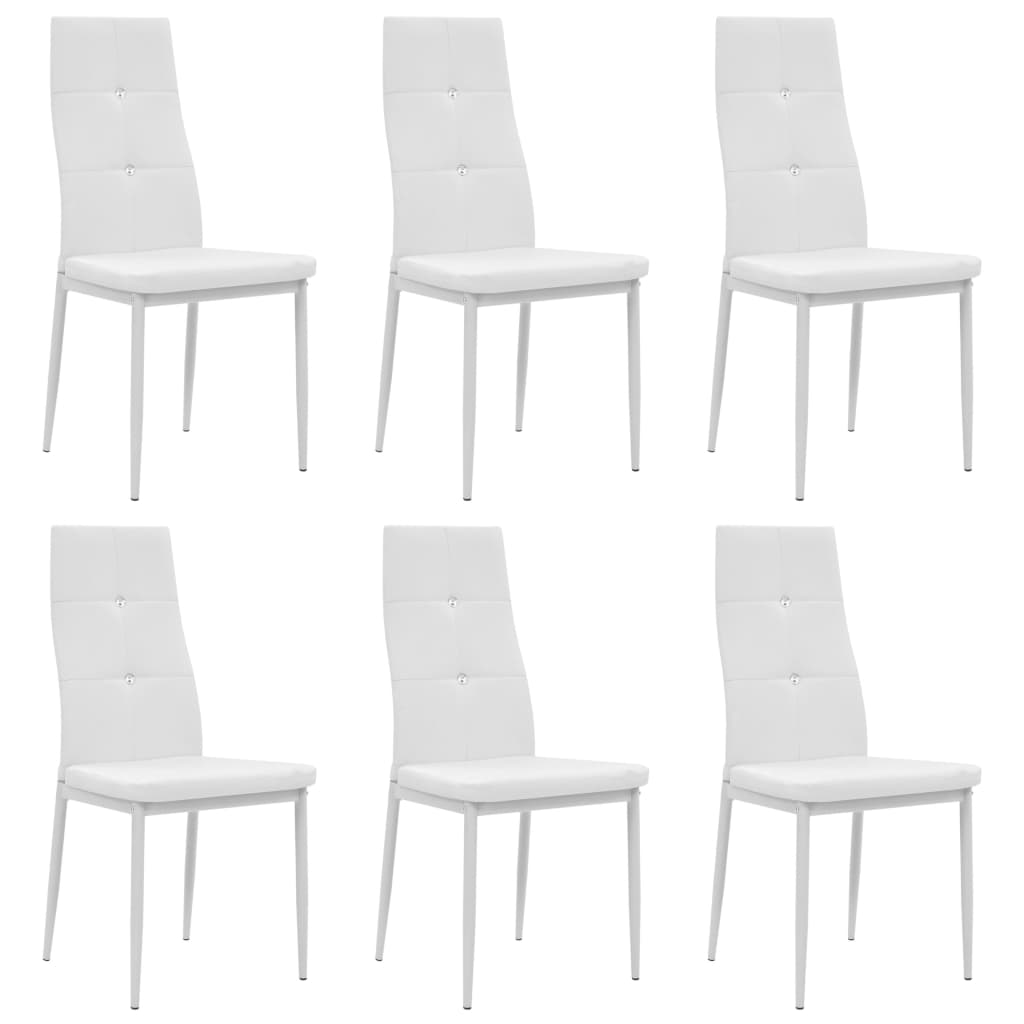 vidaXL Καρέκλες Τραπεζαρίας 6 τεμ. Λευκές 43×43,5×96 εκ. από Δερματίνη