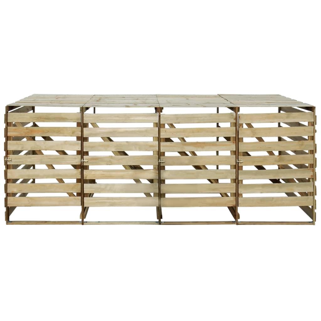 vidaXL Containerberging vierdubbel 240 L FSC geimpregneerd grenenhout