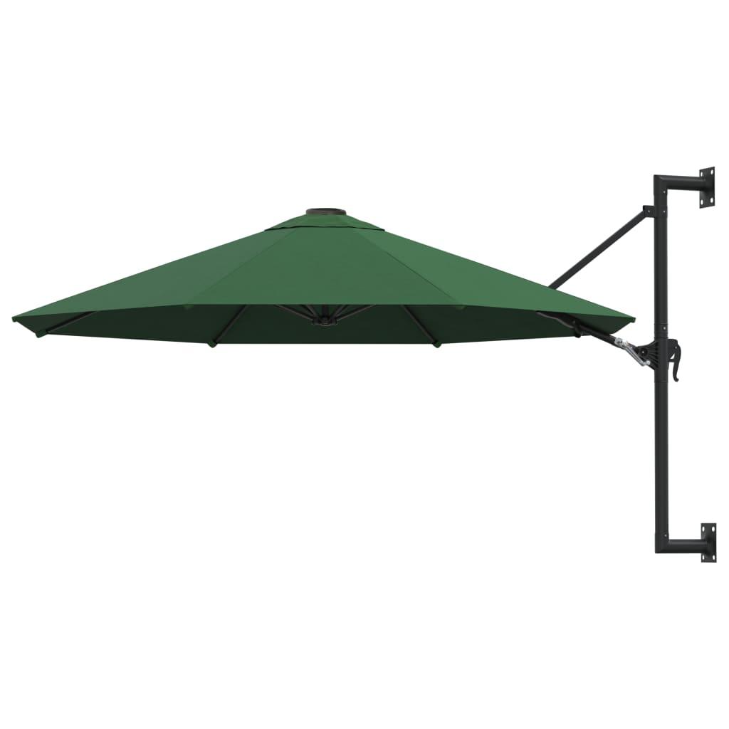 vidaXL Umbrelă soare, montaj pe perete, tijă metalică, verde, 300 cm poza 2021 vidaXL