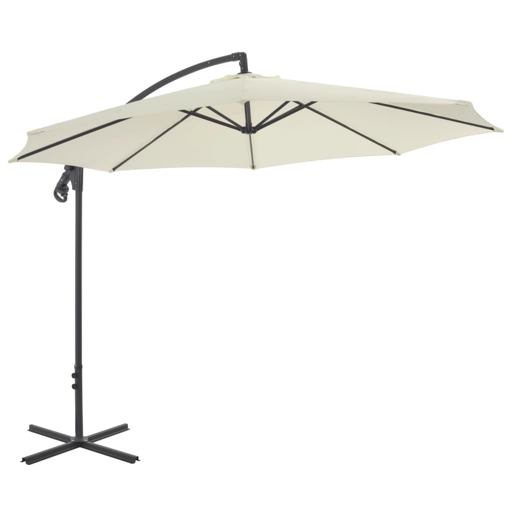vidaXL Konzolový slunečník s ocelovou tyčí 300 cm pískový