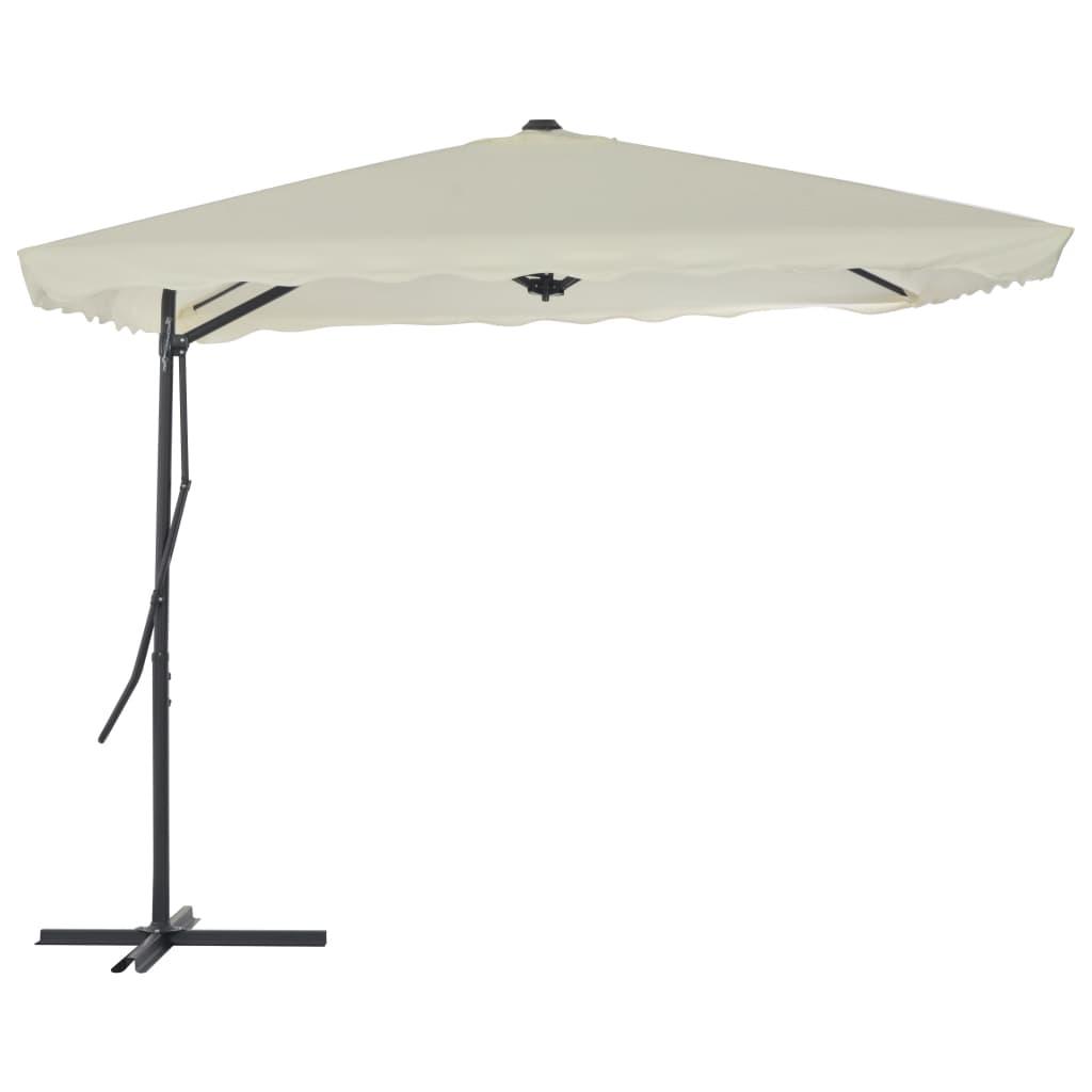 vidaXL Umbrelă soare de exterior, stâlp din oțel, nisipiu, 250x250 cm imagine vidaxl.ro