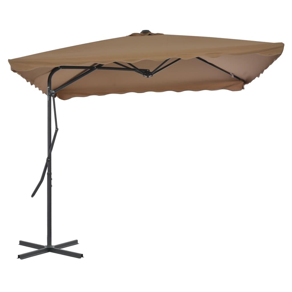 vidaXL Umbrelă soare de exterior, stâlp oțel, gri taupe, 250 x 250 cm imagine vidaxl.ro