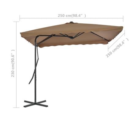 vidaXL Sonnenschirm mit Stahlmast 250 x 250 cm Taupe[7/7]