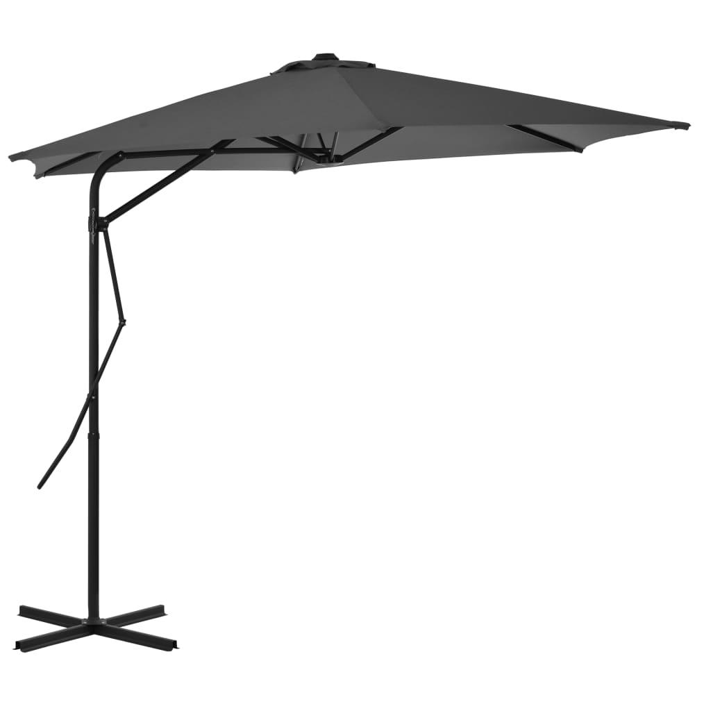 vidaXL Umbrelă de soare de exterior, stâlp din oțel, antracit, 300 cm vidaxl.ro