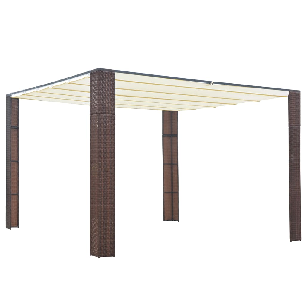 vidaXL Κιόσκι με Οροφή Καφέ/Κρεμ 300x300x200 εκ. από Συνθετικό Ρατάν