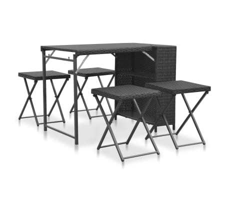vidaXL 5 Piece Folding Outdoor Dining Set Poly Rattan Black