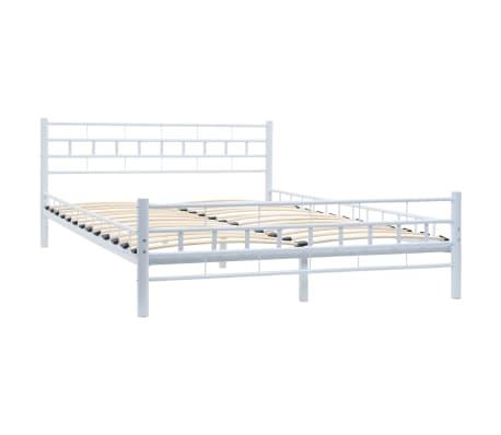 vidaXL Bed Frame White Metal 137x187 cm