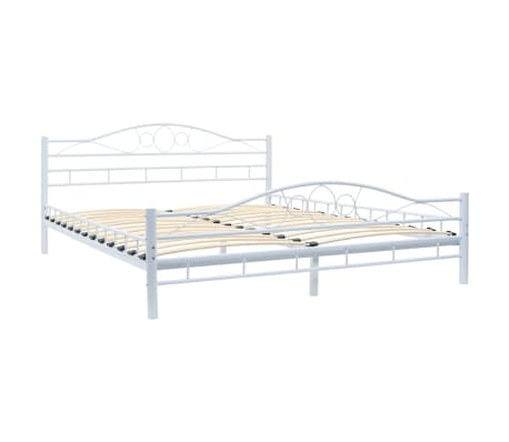 vidaXL Bed Frame White Metal 153x203 cm