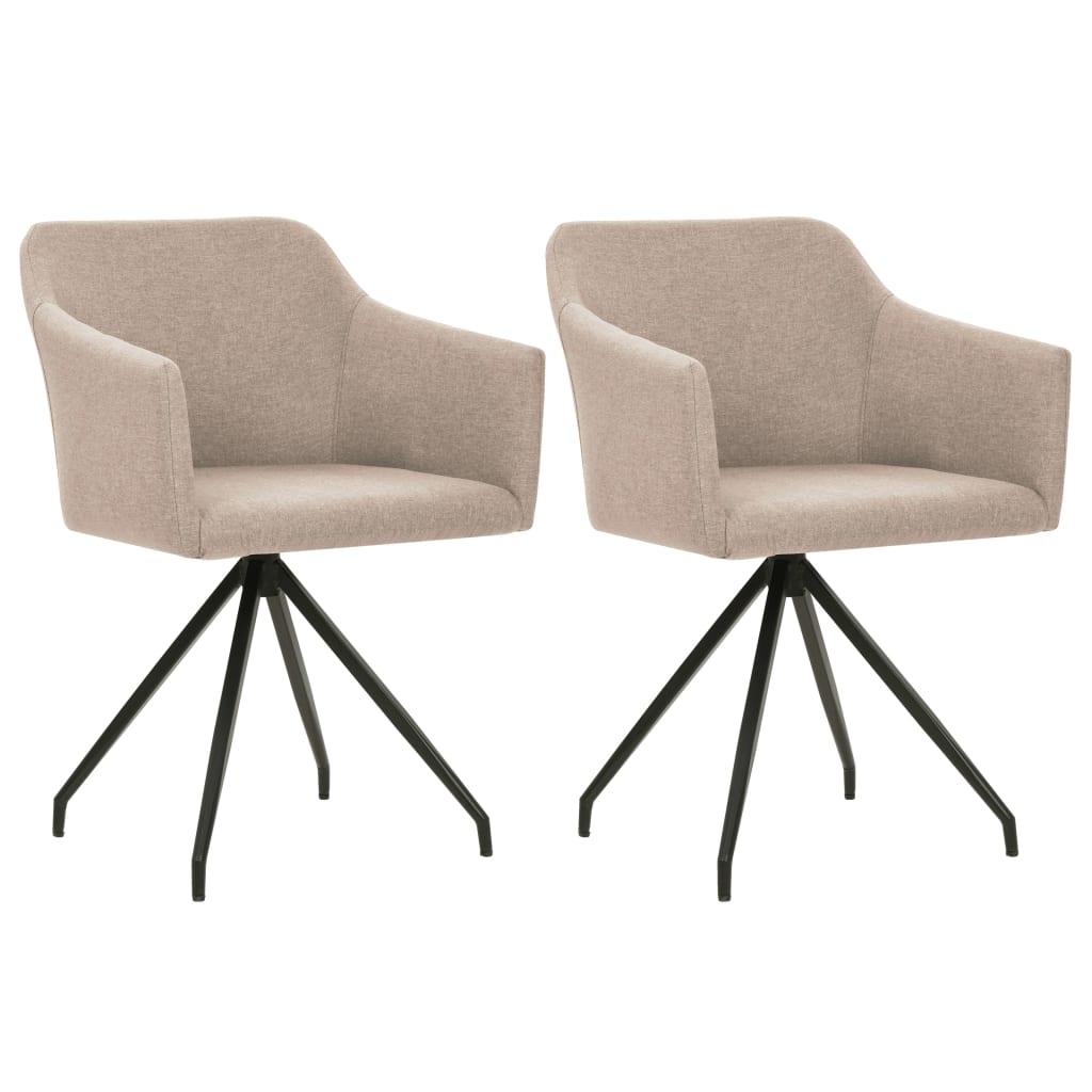 vidaXL Καρέκλες Τραπεζαρίας Περιστρεφόμενες 2 τεμ. Χρώμα Taupe Ύφασμα