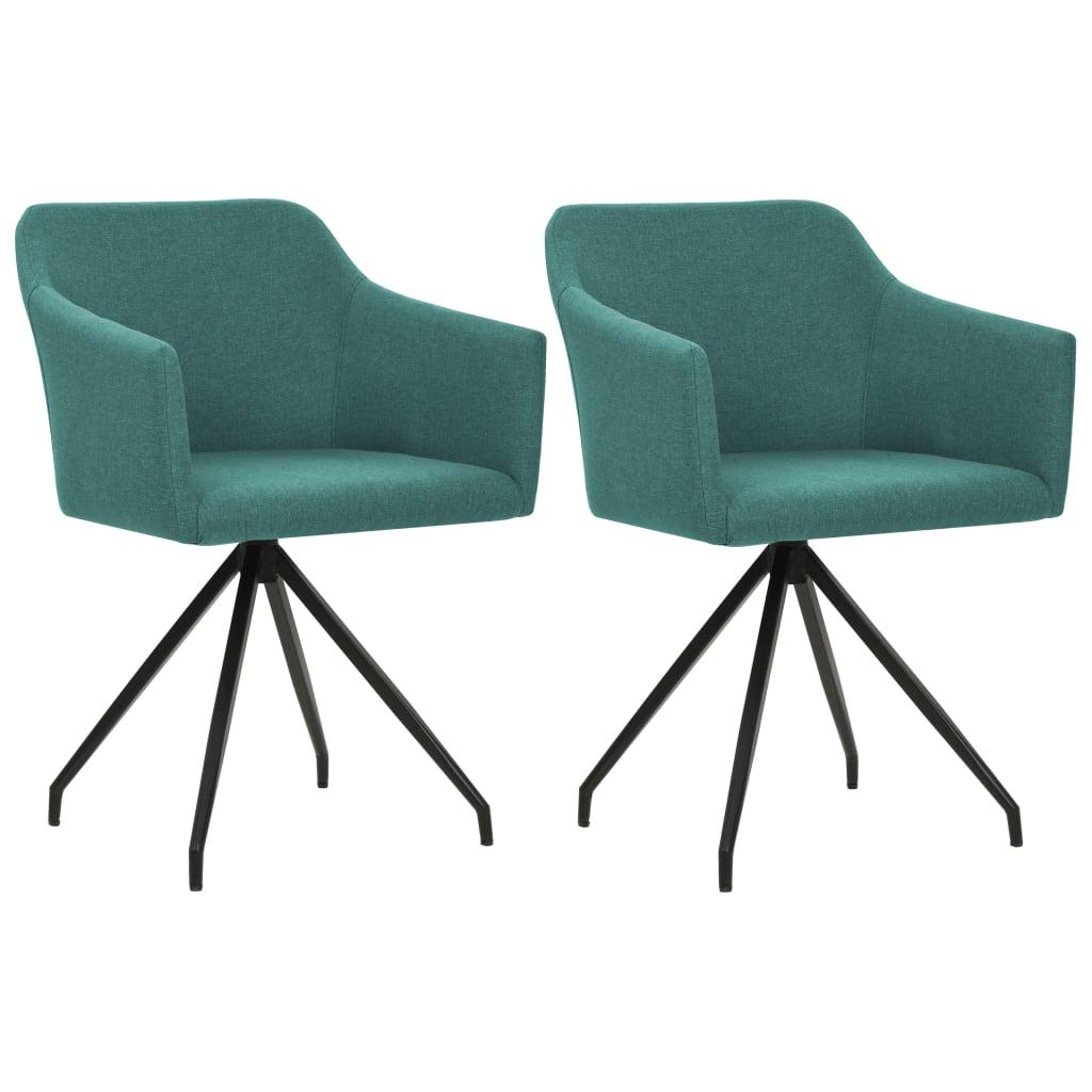 vidaXL Καρέκλες Τραπεζαρίας Περιστρεφόμενες 2 τεμ. Πράσινο Υφασμάτινες