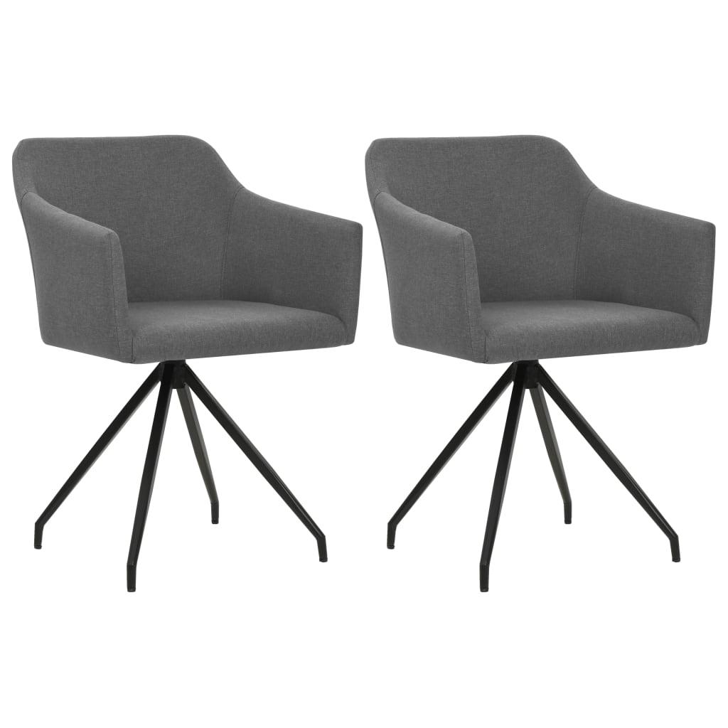 vidaXL Καρέκλες Τραπεζαρίας Περιστρεφόμενες 2 τεμ. Ανοιχτό Γκρι Ύφασμα