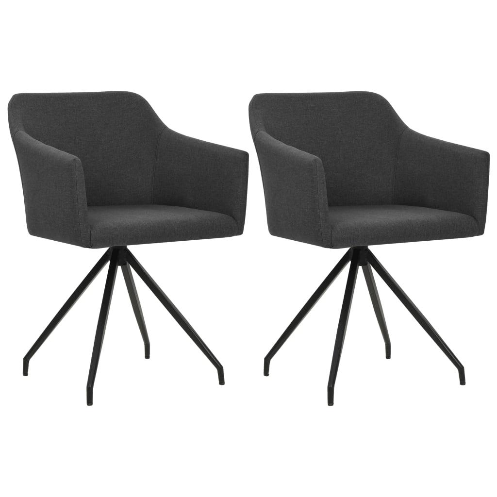 vidaXL Καρέκλες Τραπεζαρίας Περιστρεφόμενες 2 τεμ. Σκούρο Γκρι Ύφασμα