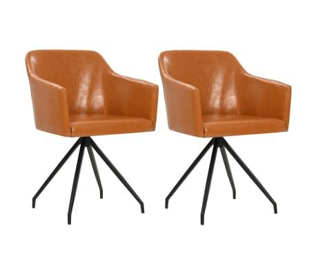 vidaXL Otočné jídelní židle 2 ks hnědé umělá kůže