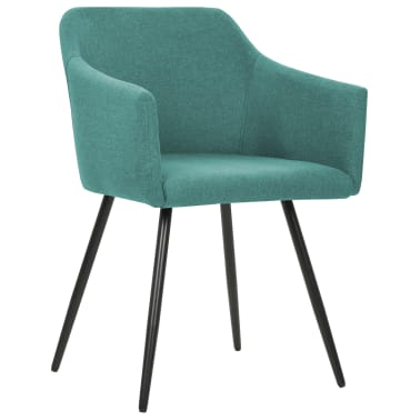 vidaXL Valgomojo kėdės, 2 vnt., žalios, audinys[2/7]