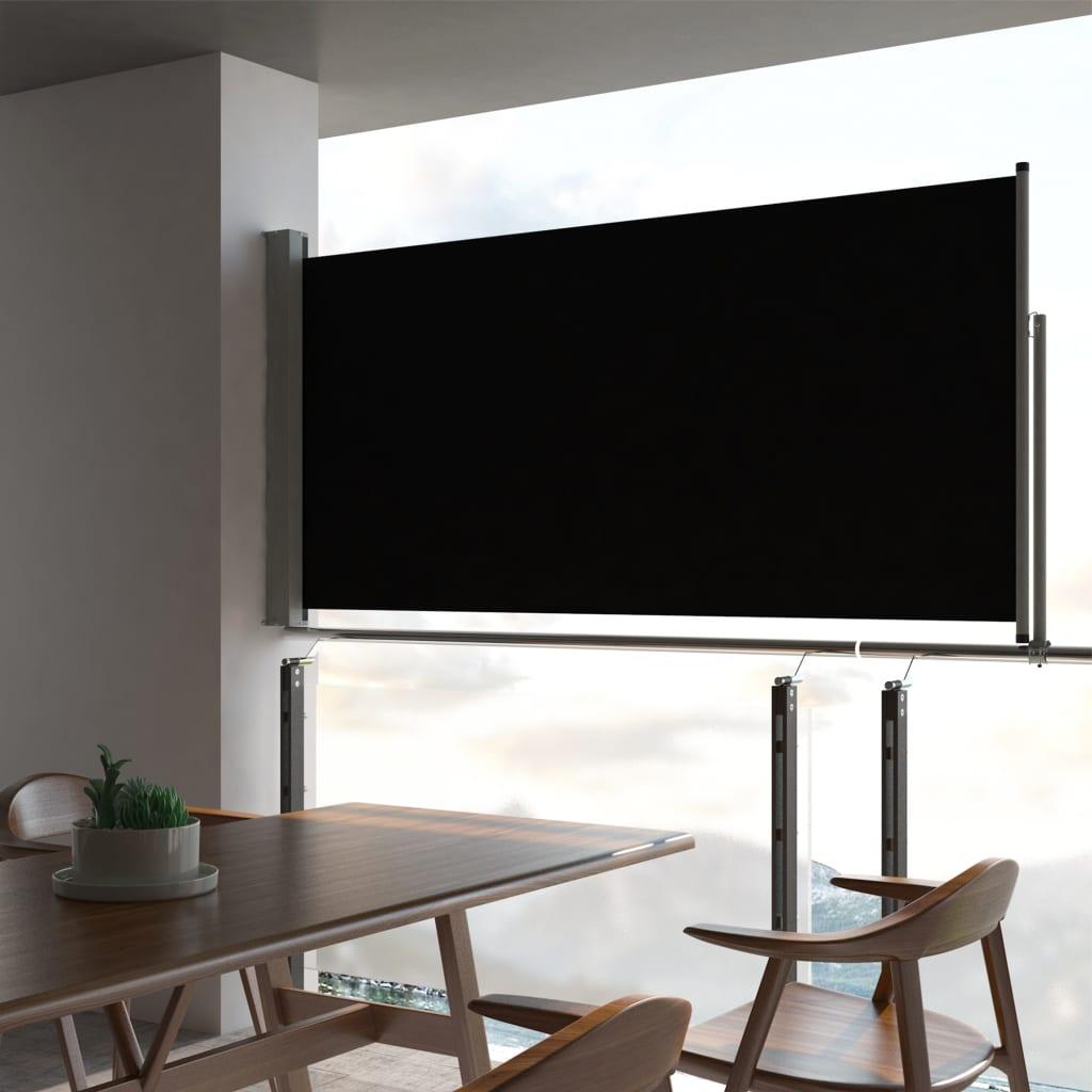 vidaXL Terasová zatahovací boční markýza 120 x 300 cm černá