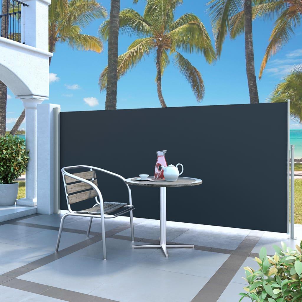 vidaXL Zatahovací boční markýza / zástěna 140 x 300 cm černá