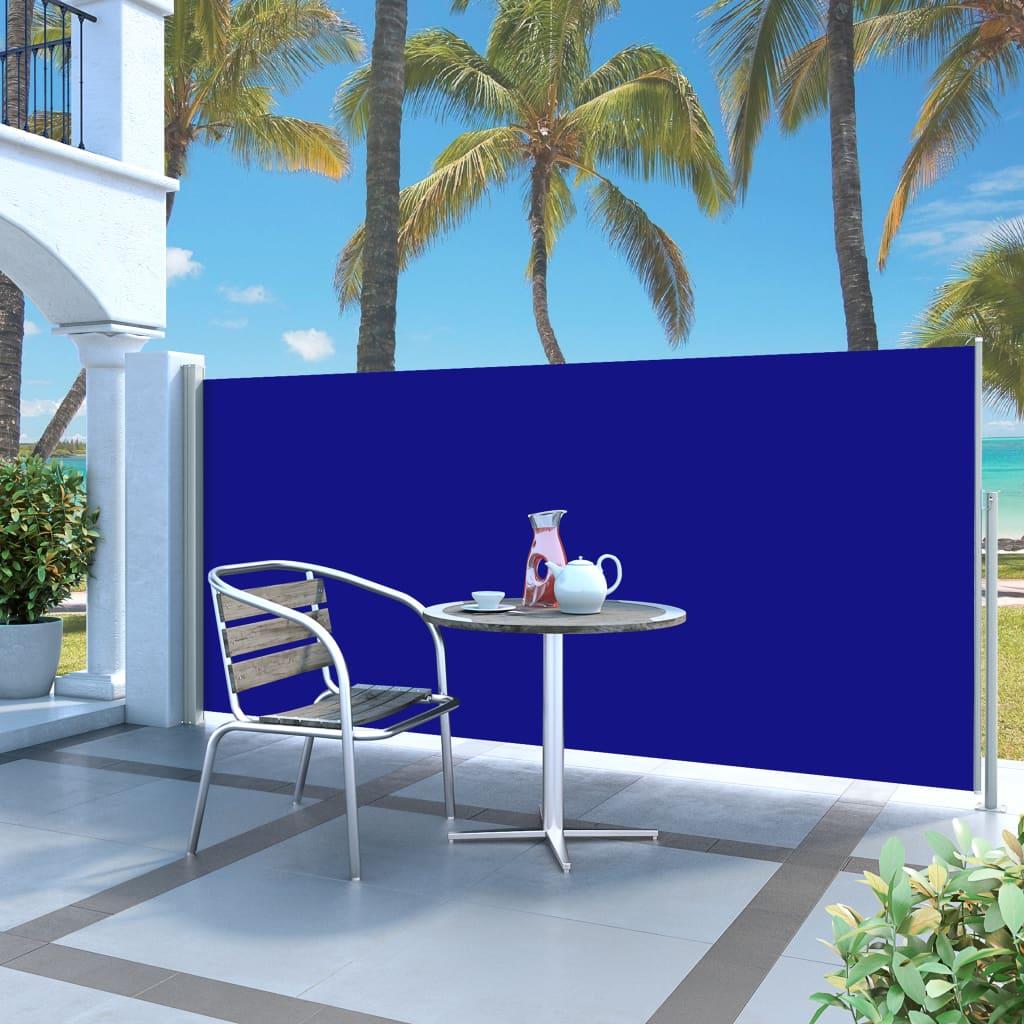 vidaXL Zatahovací boční markýza / zástěna 140 x 300 cm modrá