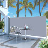 "vidaXL Retractable Side Awning 55.1""x118.1"" Gray"