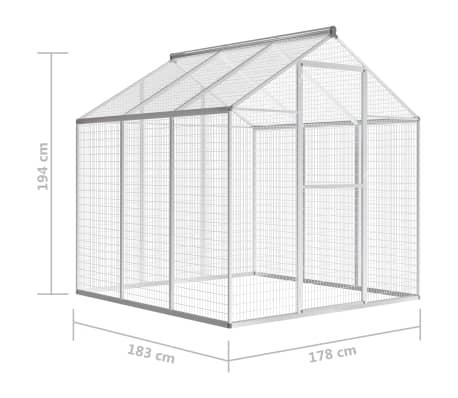 vidaXL Pajarera de exterior de aluminio 183x178x194 cm[5/8]