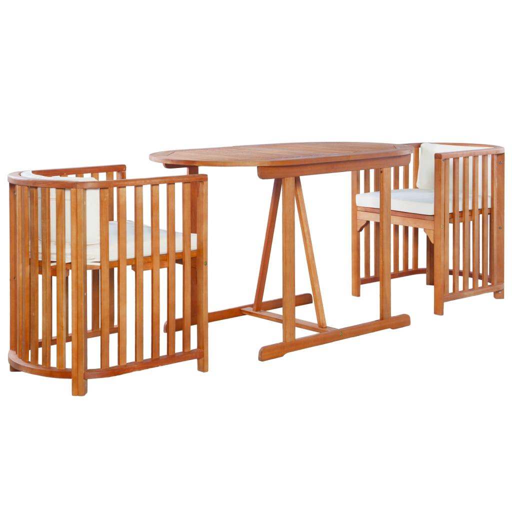 vidaXL 3-cz. zestaw bistro z poduszkami, lite drewno eukaliptusowe