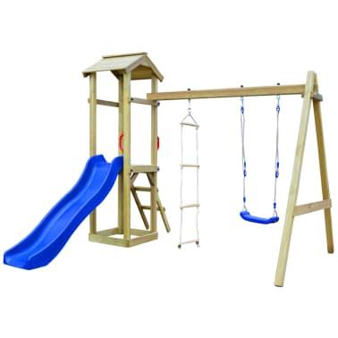 vidaXL Parque infantil con tobogán, escaleras y columpio de madera FSC[2/7]