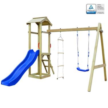 vidaXL Parque infantil con tobogán, escaleras y columpio de madera FSC[1/7]