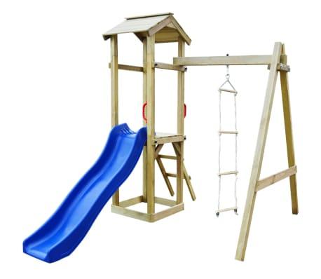 vidaXL Set joacă din lemn cu tobogan, scări, leagăn 237x168x218cm
