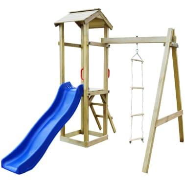 vidaXL Maison de jeu et toboggan échelles balançoire 237x168x218cm FSC[2/6]