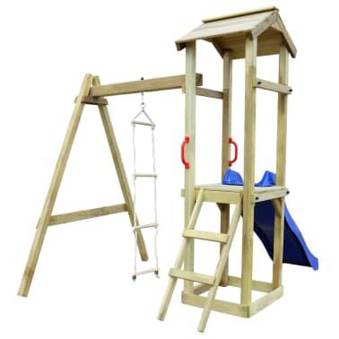 vidaXL Maison de jeu et toboggan échelles balançoire 237x168x218cm FSC[3/6]