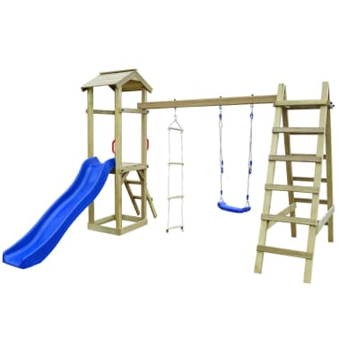 vidaXL Speelhuis met glijbaan ladders en schommel 286x237x218 cm hout[2/7]