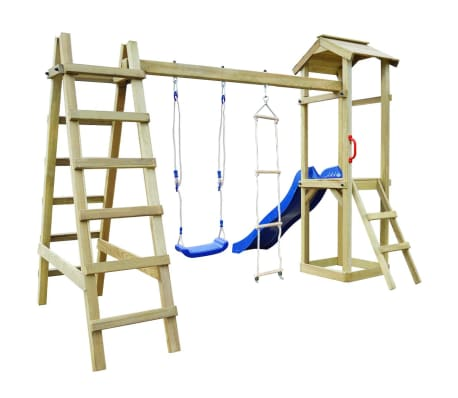 vidaXL Speelhuis met glijbaan ladders en schommel 286x237x218 cm hout[3/7]
