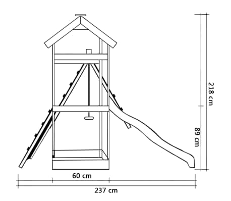 vidaXL Speelhuis met glijbaan ladders en schommel 286x237x218 cm hout[5/7]