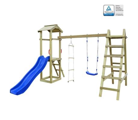 vidaXL Speelhuis met glijbaan ladders en schommel 286x237x218 cm hout[1/7]