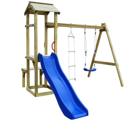 vidaXL Parque infantil con tobogán, columpio y escalera de madera