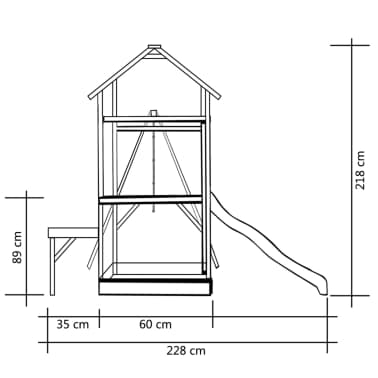 vidaXL Maison de jeu et toboggan échelle balançoire 228x168x218 cm FSC[4/6]