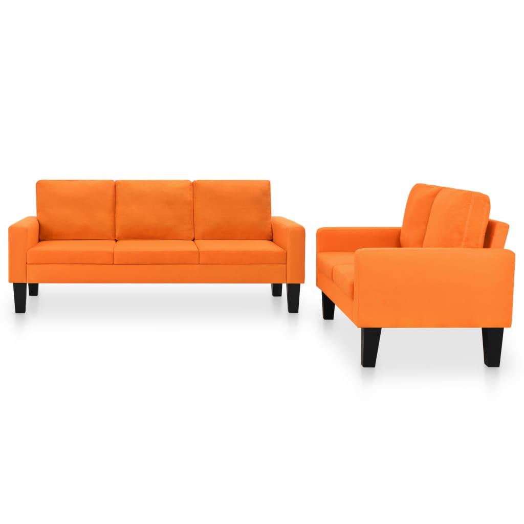 vidaXL Σετ Σαλονιού 2 τεμ. Πορτοκαλί Υφασμάτινο