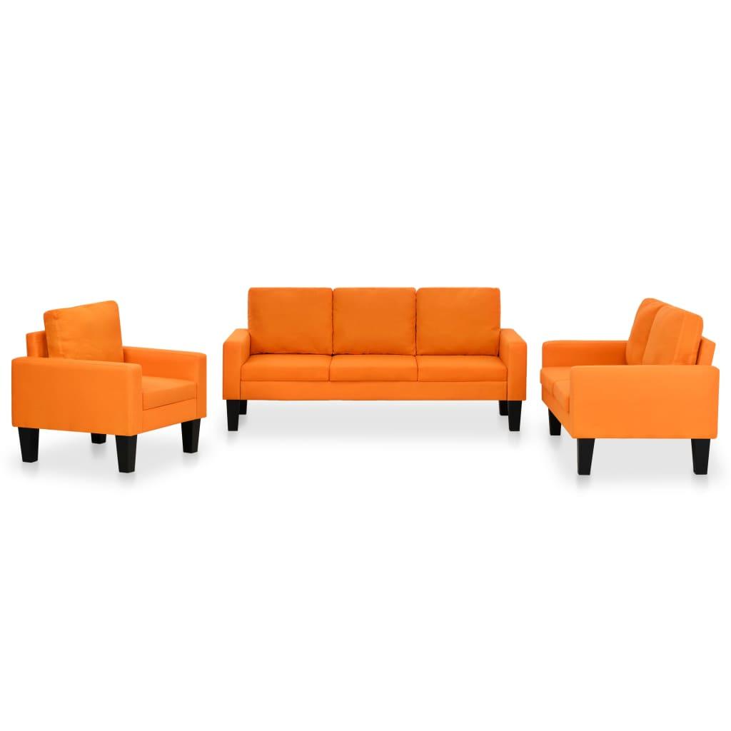 vidaXL Set de canapele, 3 piese, material textil, portocaliu poza vidaxl.ro